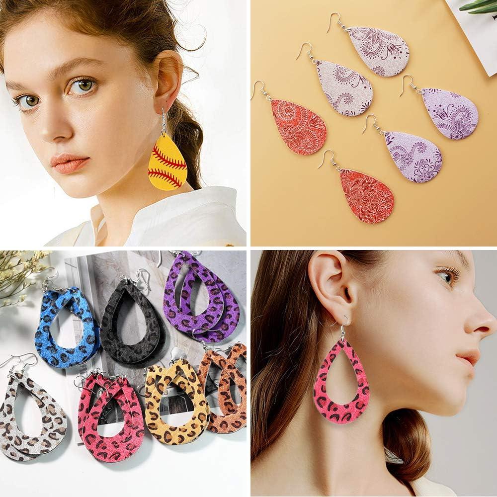 Dreamtop 14pcs Earring Cutting Dies Earring Cut Template Metal Earring Die Cuts 6 Colors Earring Hooks for Making Earrings Felt丨Card丨Wrapping Gift丨Scrapbooking丨DIY Crafts Supplies