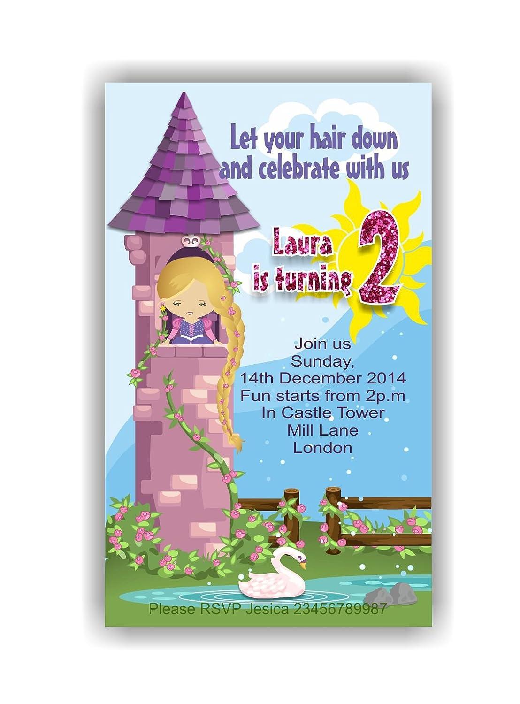 10 x Rapunzel niños tarjetas de invitación para fiestas con ...