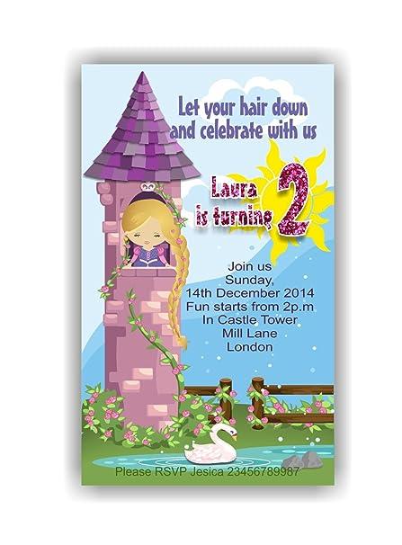 10 X Rapunzel Niños Tarjetas De Invitación Para Fiestas Con