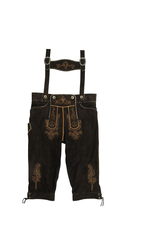 Herren Kniebund Lederhose im Wildbock Leder, mit Träger und Stickerei