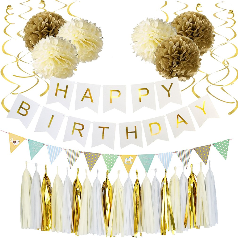 Amazon Alodidae White And Gold Birthday Decorations White