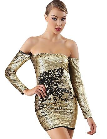 Miss Water Damen Partykleid Pailletten Kleider Reversible ...