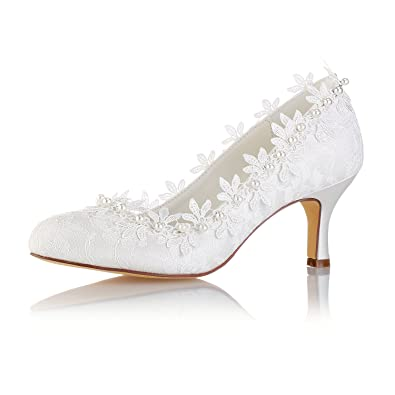 21cc9a59186 Emily Bridal Vintage Wedding Shoes Ivory Round Toe Pearls Flowers Kitten  Heel Bridal Shoes (EU35