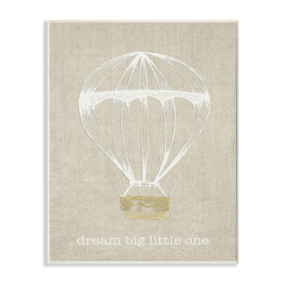 Stupell Home Décor Dream Big Little One Hot Air Balloon Wall Plaque Art, 10 x 0.5 x 15, Proudly Made in USA