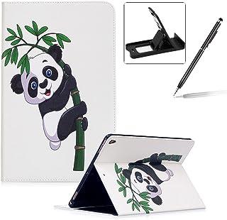 Herzzer Coque en PU Cuir pour Apple iPad Pro 10.5' 2017 Tablette Housse Etui Flip Case ave Stand Fonction Cartes de Crédit Slot Hull Wallet Cover Anti Scratch Soft Silicone Inner Etui de Protection -- Motif Bambou Panda