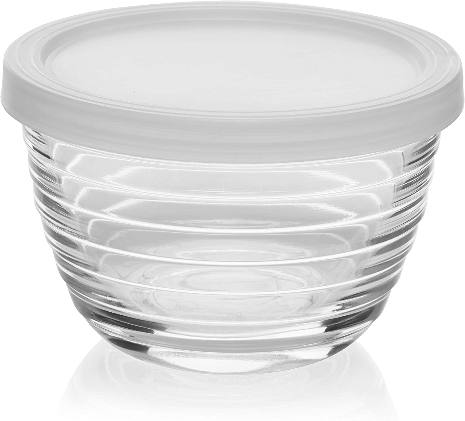 Libbey Small Glass Bowls with Lids, 6.25 ounce, Set of 8, Clear, 3.45-inch -: Kitchen & Dining