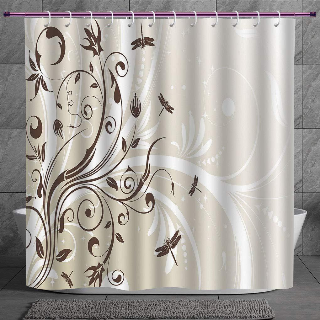 Dragonfly Shower Curtain Seasonal Flourish Print for Bathroom