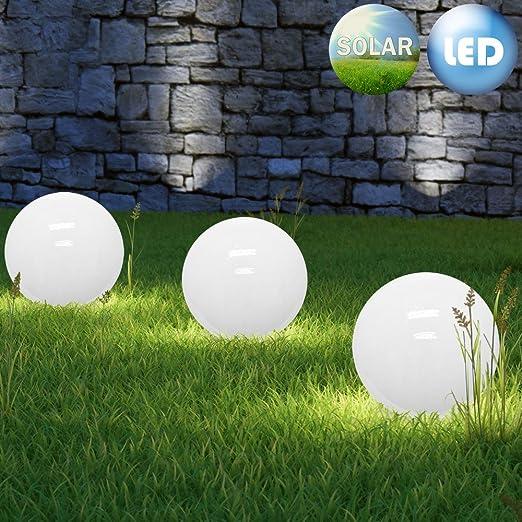 Charming LED Solar Ball Garden Landscape Outdoor Lights SET 3 X 30cm Stake Light  Warm White Globe