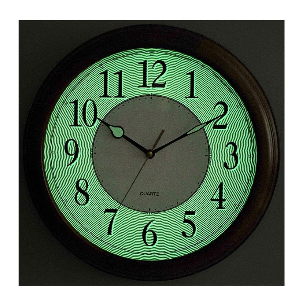 掛け時計 壁時計夜目に見える非刻々と回る電池式の無声水晶居間の寝室ヨーロッパのレトロの装飾的なヴィンテージ純木の時計 置時計   B07SRSZ684