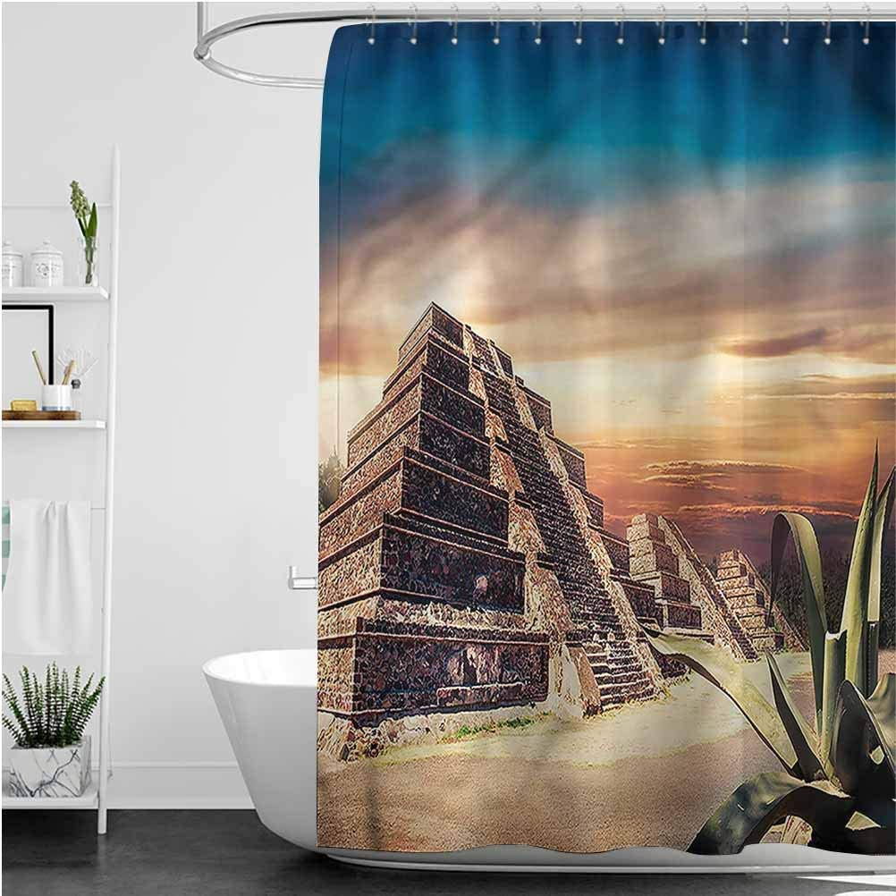 Interestlee Mesoamerican Custom Shower Curtain Aztec Pyramid Sunset Waterproof Summer Bath Decor, 72 x 84 Inch