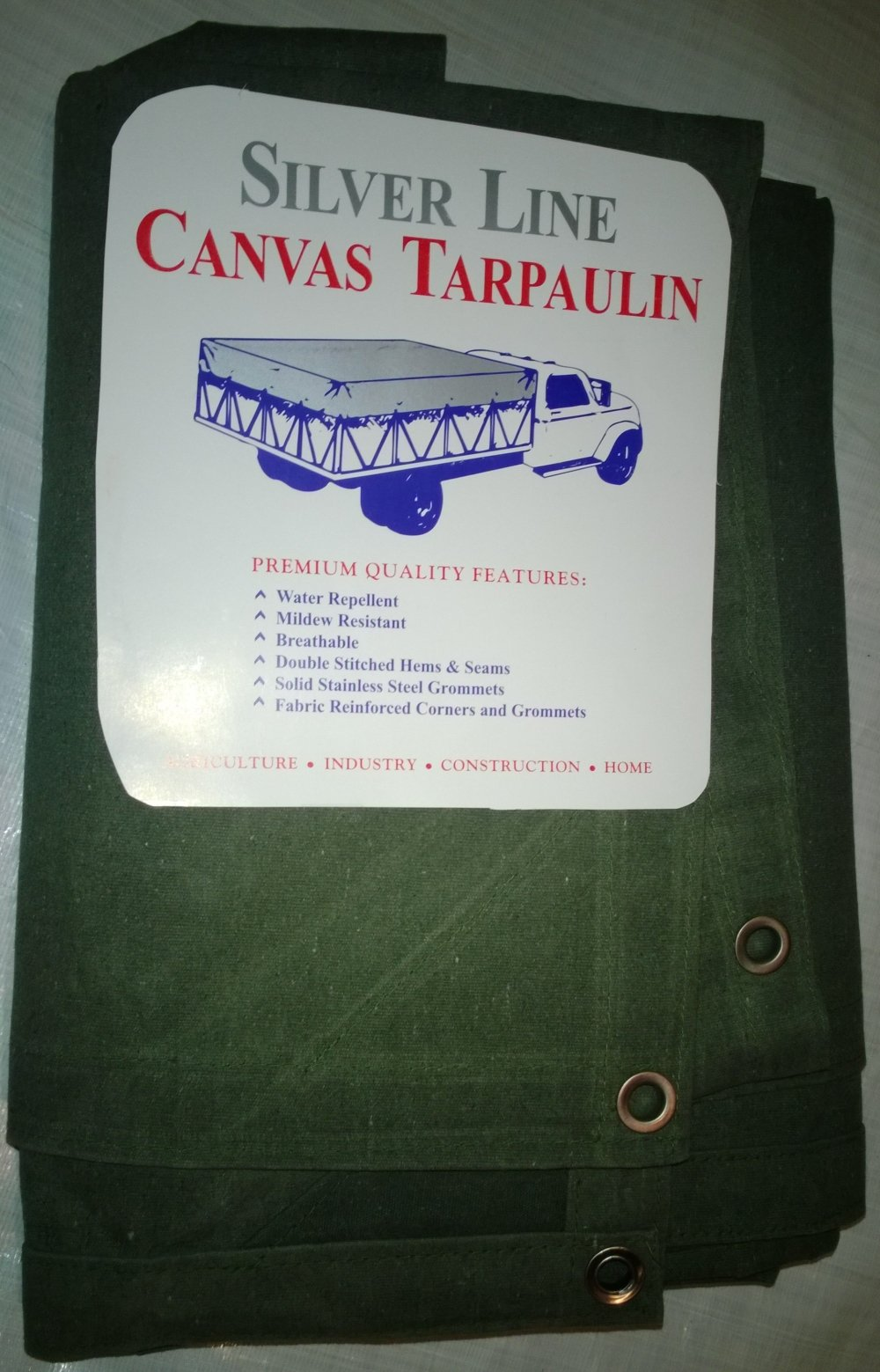 10' x 18' Canvas Tarp 12oz/18oz Olive Drab with Stainless Steel Grommets