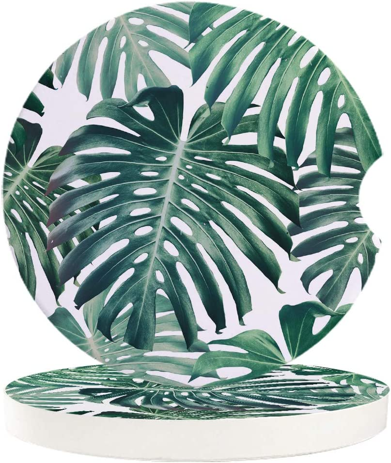 Car Drinks Coasters Set of 4 Pack Tropical Palm Leaves Hawaii Absorbent Ceramic Stone Coaster with A Finger Notch for Easy Removal from Auto Cupholder