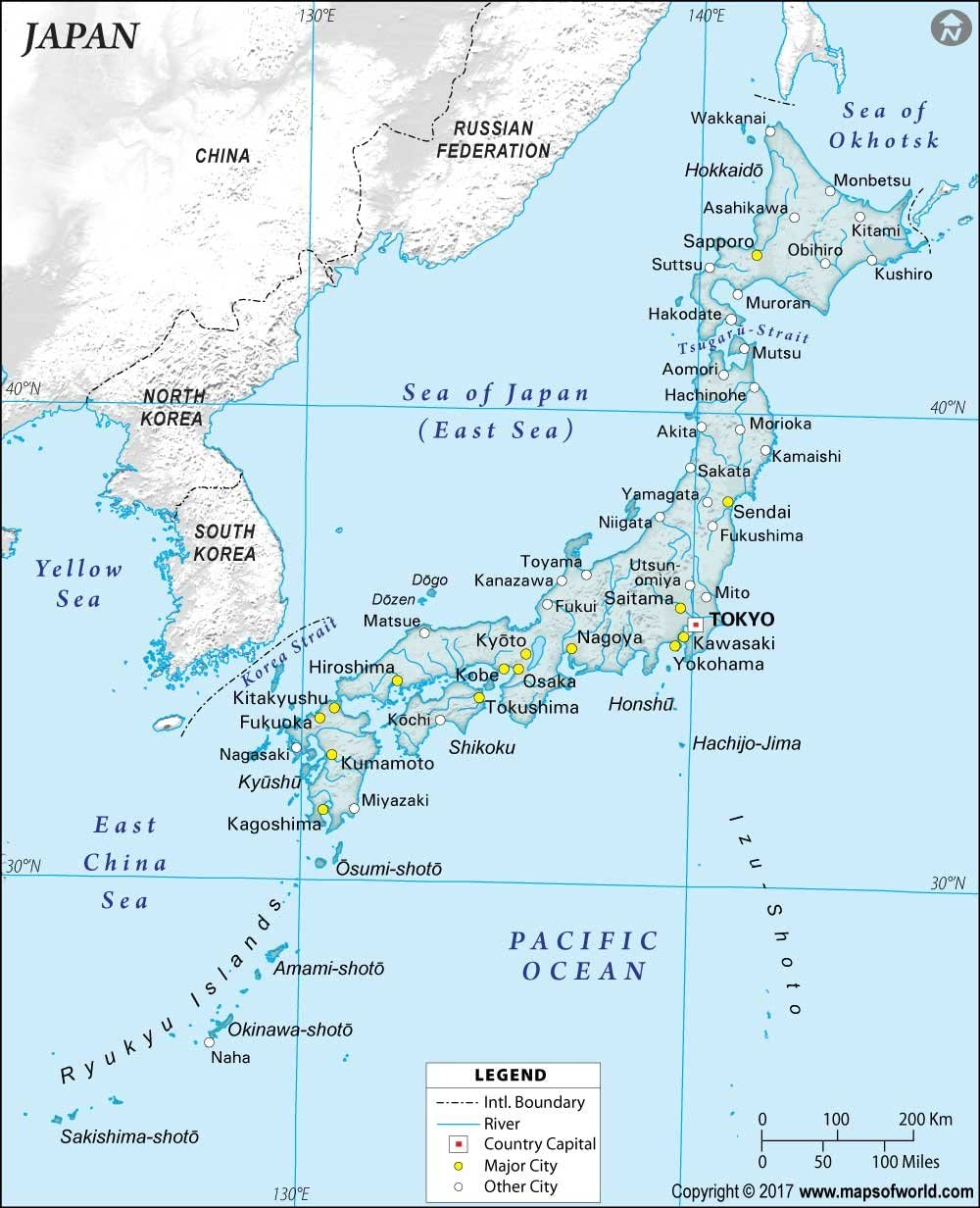 Amazon Japan Physical Map With Cities 36 W X 44 42
