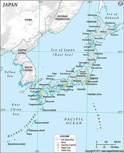 Mapa De Japon Ciudades.Japon Fisica Mapa Con Ciudades 36 W X 44 42 H Amazon Es