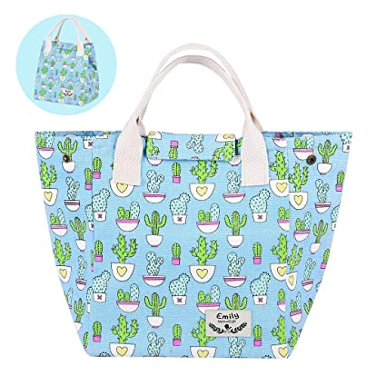 Reusable Printed Lunch Bag Organic Cotton Insulated Lunch Box with Handles,  Aluminium Foil | Cute Lunch Bags for Women/Men/Kids/Adult (Cactus)