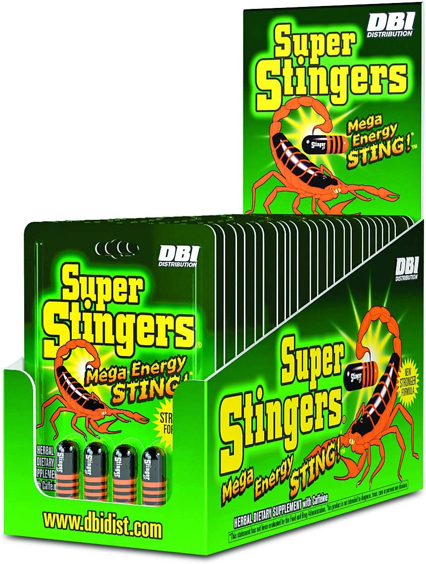 Super Stingers Mega Energy Sting – 300mg Caffeine Pills with a Premium Herbal Blend B6, B12, Iron, Guarana, Green Tea, Mate Extract and Asian Ginseng Root – 4 Count Packet, 24 Packet Display