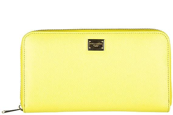 0a842dfff002 Dolce   Gabbana portefeuille porte-monnaie femme deux plis zip around  dauphine jau