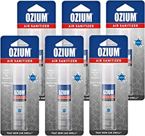 Ozium 0.8 oz. Air Sanitizer & Odor Eliminator for Homes, Cars, Offices and More, New Car, 6-Pack