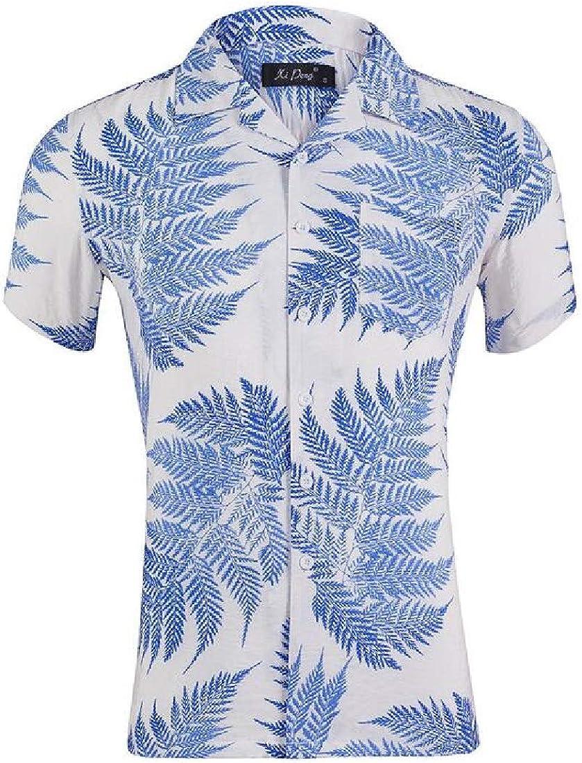 YYG Men Lapel Casual Relaxed Fit Beach Short Sleeve Printed Button Down Shirt