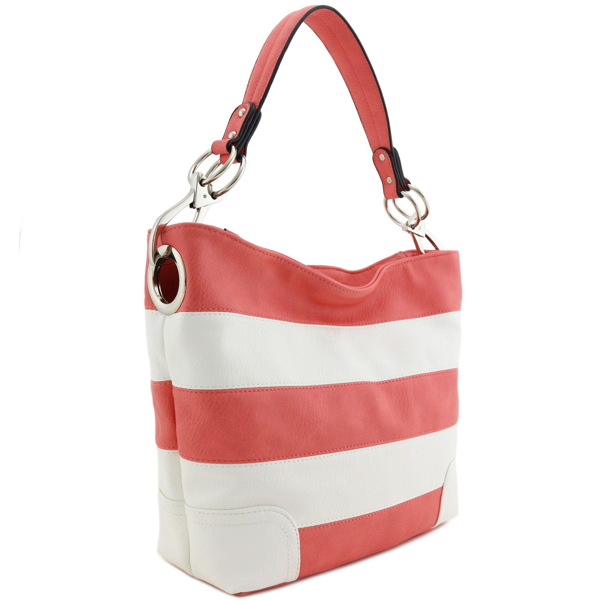 Hobo Shoulder Bag with Big Snap Hook Hardware (Peach/White)