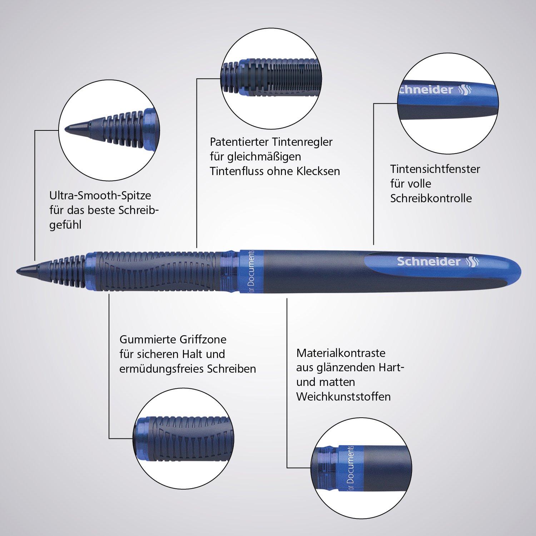Schneider Beste Tintenroller One Business Etui Ultra-Smooth-Spitze 4er Pack NEU
