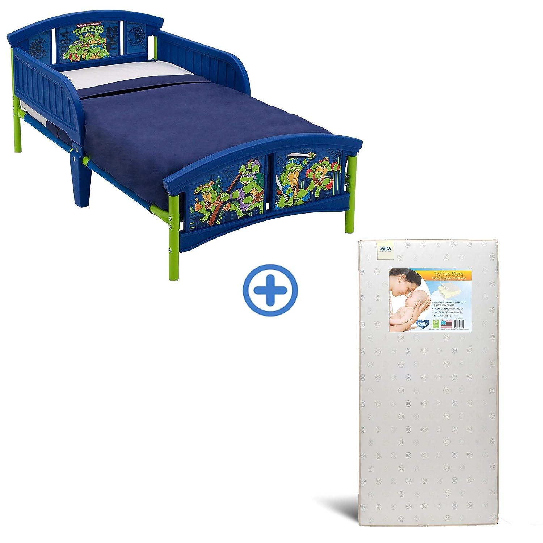 Delta Children Plastic Toddler Bed, Teenage Mutant Ninja Turtleswith Twinkle Stars Crib & Toddler Mattress