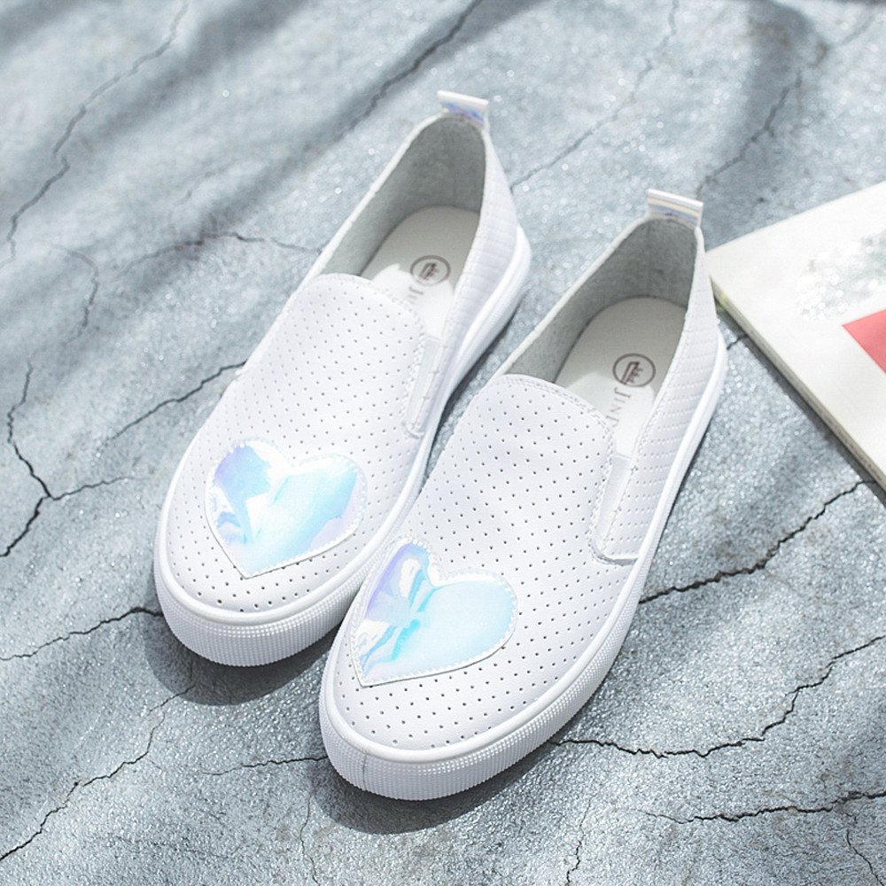 Clearance Sale Shoes For Shoes,Farjing Fashion Women Shoes Small White Shoes Heart-Shaped Breathable Casual Flats Shoes (US:5.5,Blue)
