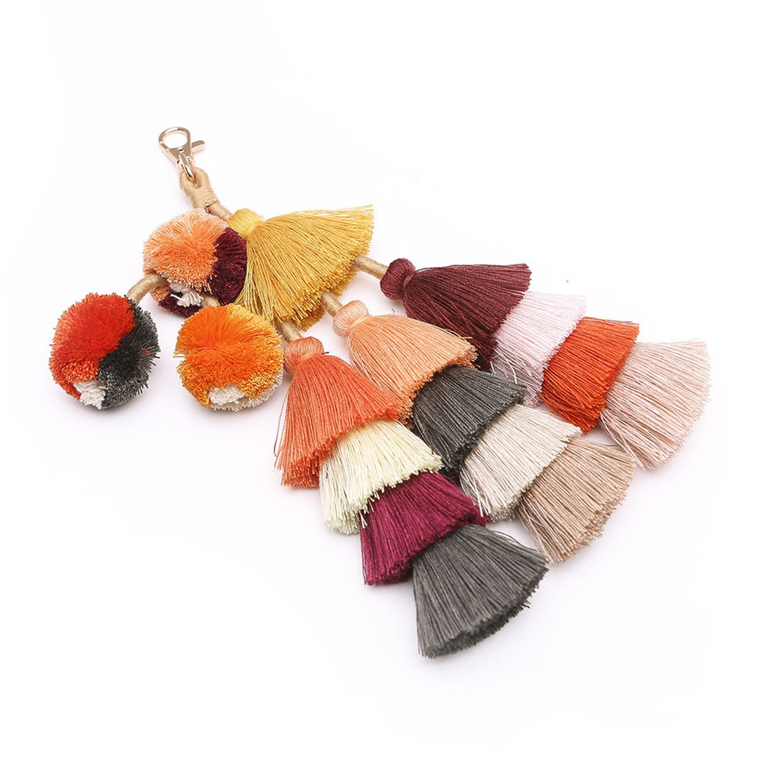 Pom Pom Key Chain for Women Colorful Tassel Knit Keychain Pendant for Bag/Car (Brown Colorful)