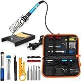 ANBES Soldering Iron Kit Electronics, 60W Adjustable Temperature Welding Tool, 5pcs Soldering Tips, Desoldering Pump, Soldering Iron Stand, Tweezers.