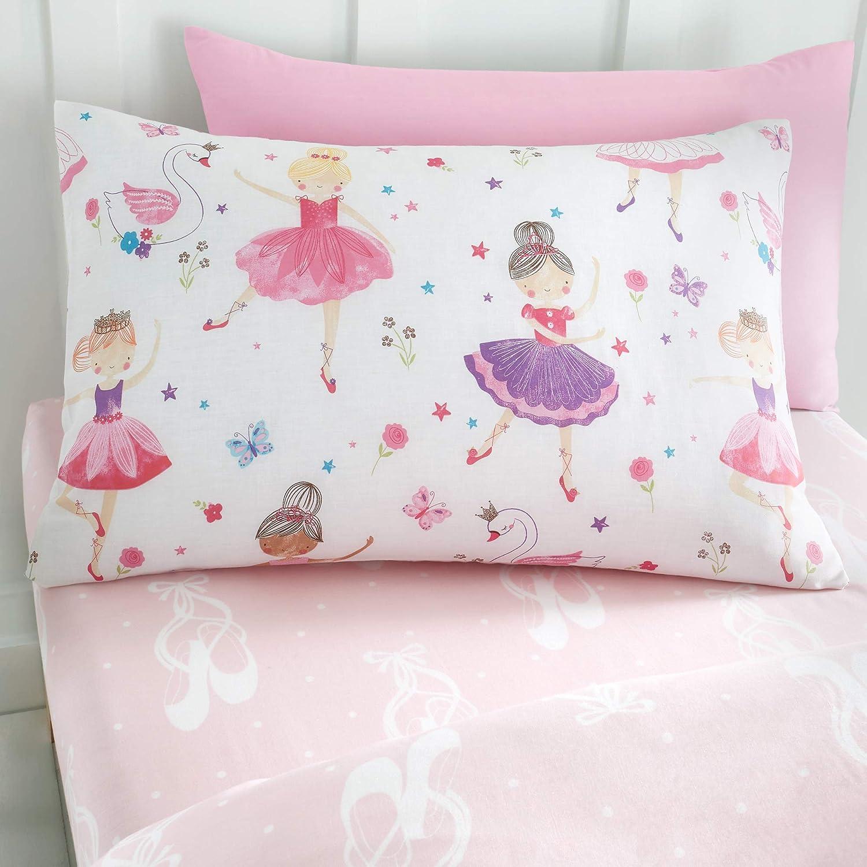 Rosa Set de 2 Estampado con Bailarinas de Ballet Happy Linen Company Fundas Infantiles Reversibles para Almohada