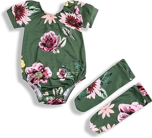 Newborn Infant Baby Girl Romper Floral Bodysuit Sunsuit Summer Clothes Outfits