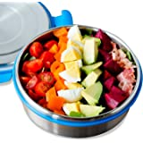 LunchBots Clicks Salad Container (3 Cup) - Stainless Steel Food Bowl with Leak-Proof Lid - Great for Salad, Leftovers and Healthy Lunches - Eco-Friendly, Dishwasher Safe and BPA-Free