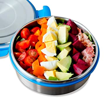 Recipiente para ensalada LunchBots Clicks de acero inoxidable, con tapa antigoteo, ideal para ensalada