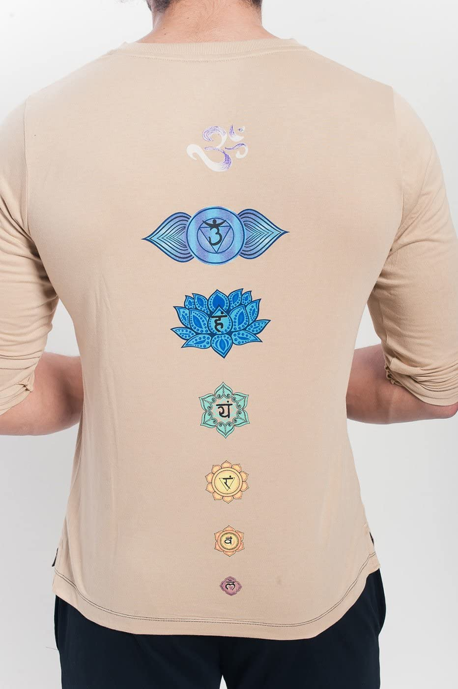 Yogamasti Mens Organic Chakra V Neck T shirt-Khakhi