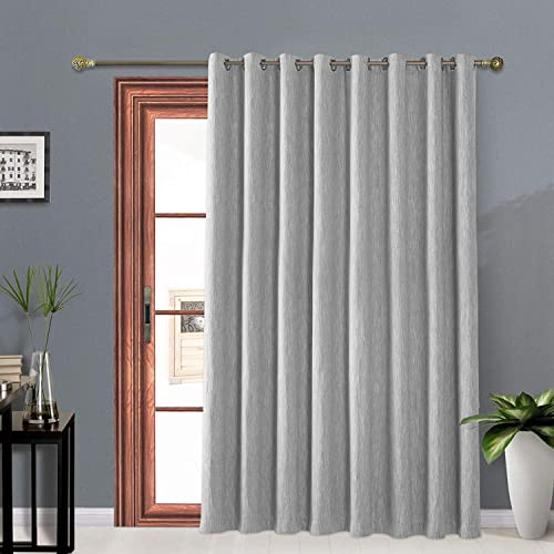 Melodieux Elegant Cotton Wide Blackout Curtains for Sliding Glass Door Living Room Thermal Insulated Grommet Drapes, 100 by 96 Inch, Grey 1 Panel