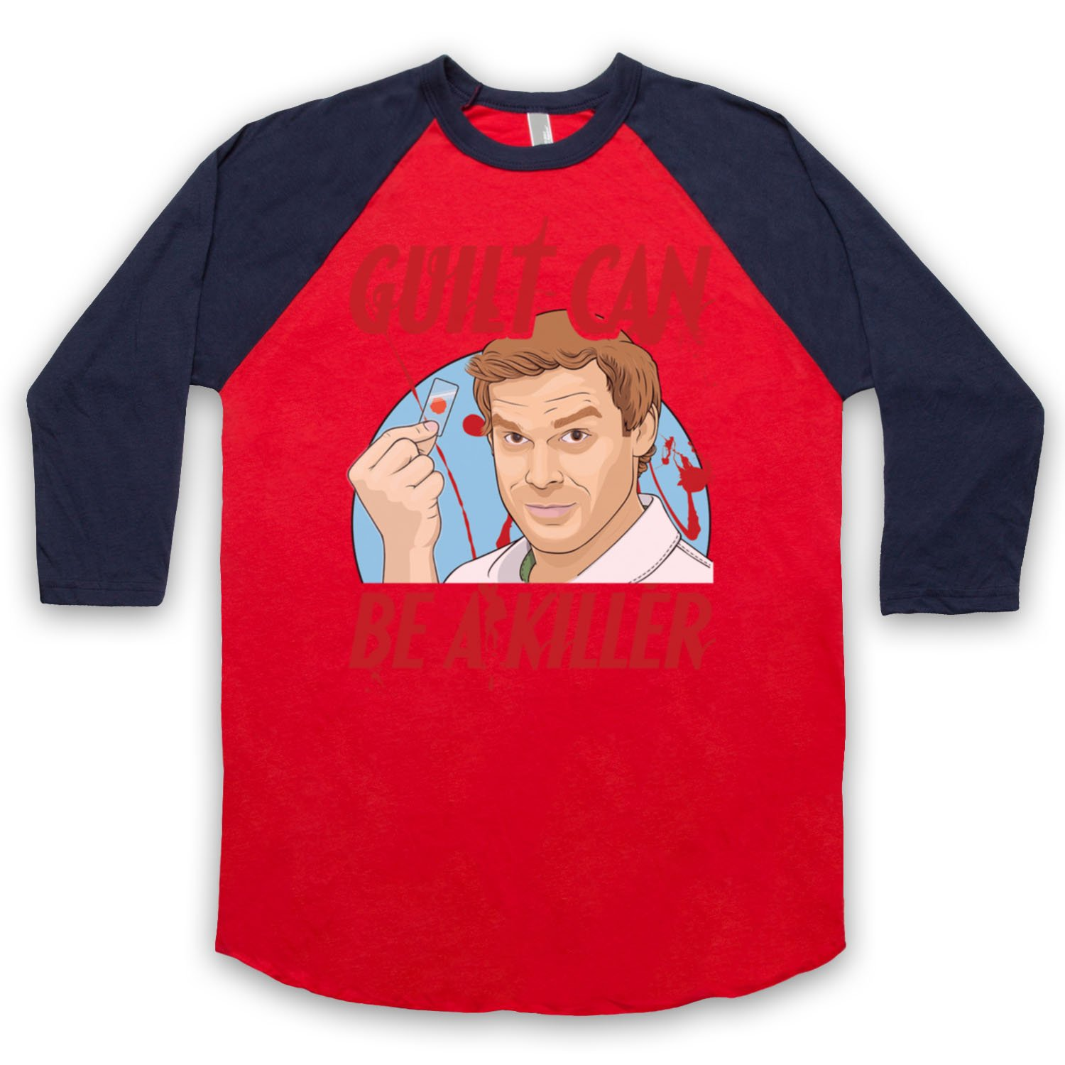 Inspired by Dexter Guilt Can Be A Killer Unofficial 3/4 Sleeve Retro Baseball Tee