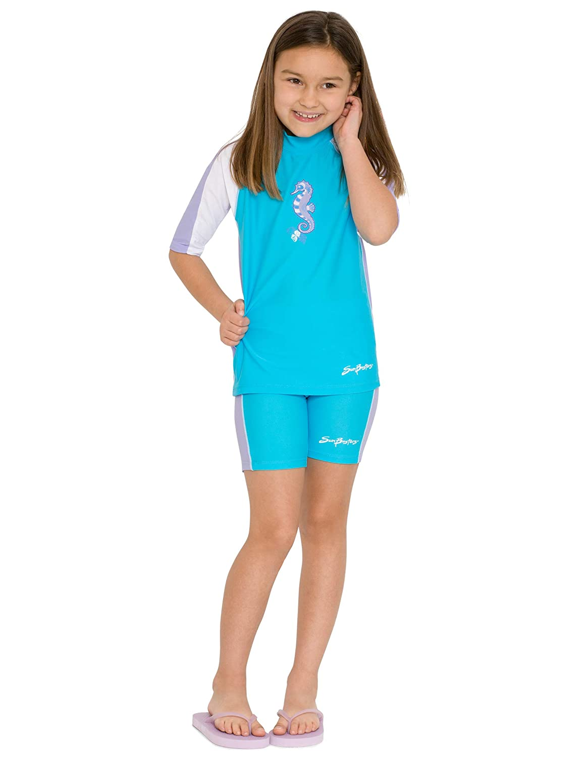 51c4b81d4a61 Amazon.com: SunBusters Girls Swim Shorts 12 mos - 12 yrs, UPF 50+ Sun  Protection: Clothing