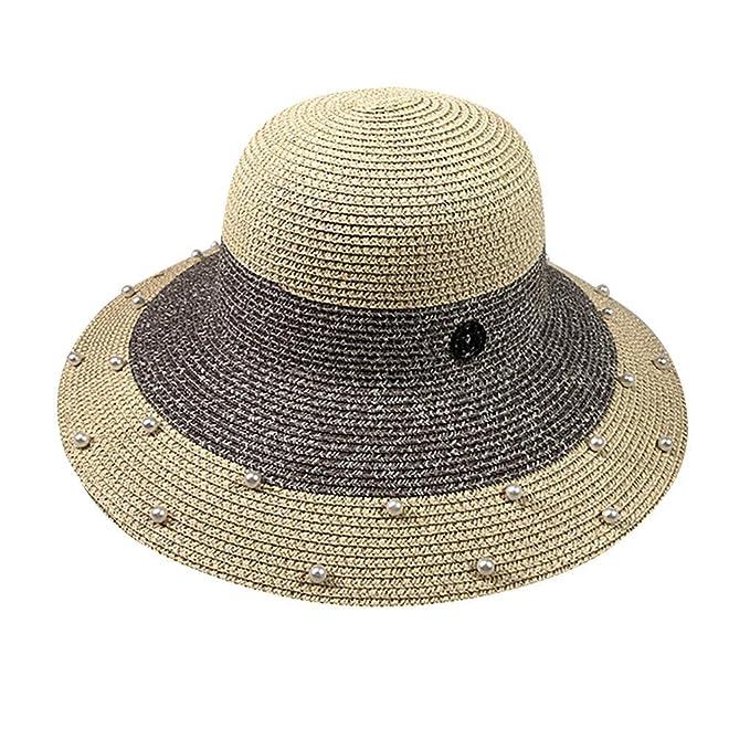 Longra💞 Mujer Hombre Unisex Playa Sombrero de Paja Pareja de Jazz ...