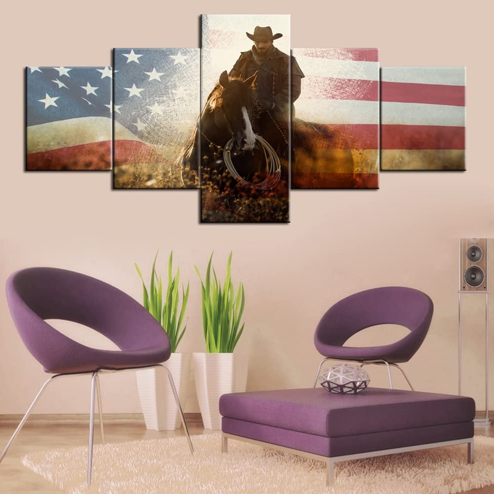 Framed American Flag Wall Art for Living Room Cowboy Paintings Horse Pictures for Walls Home Decor 5 Panel Canvas Modern Artwork Giclee Framed Gallery-wrapped Stretched Ready to Hang(50''Wx24''H)