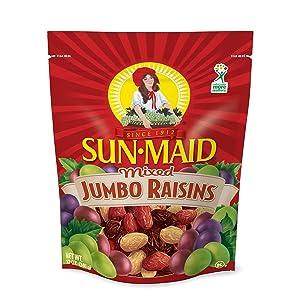 Sun Maid Mixed Jumbo Raisins, 12-Ounce Pouches (Pack of 5)