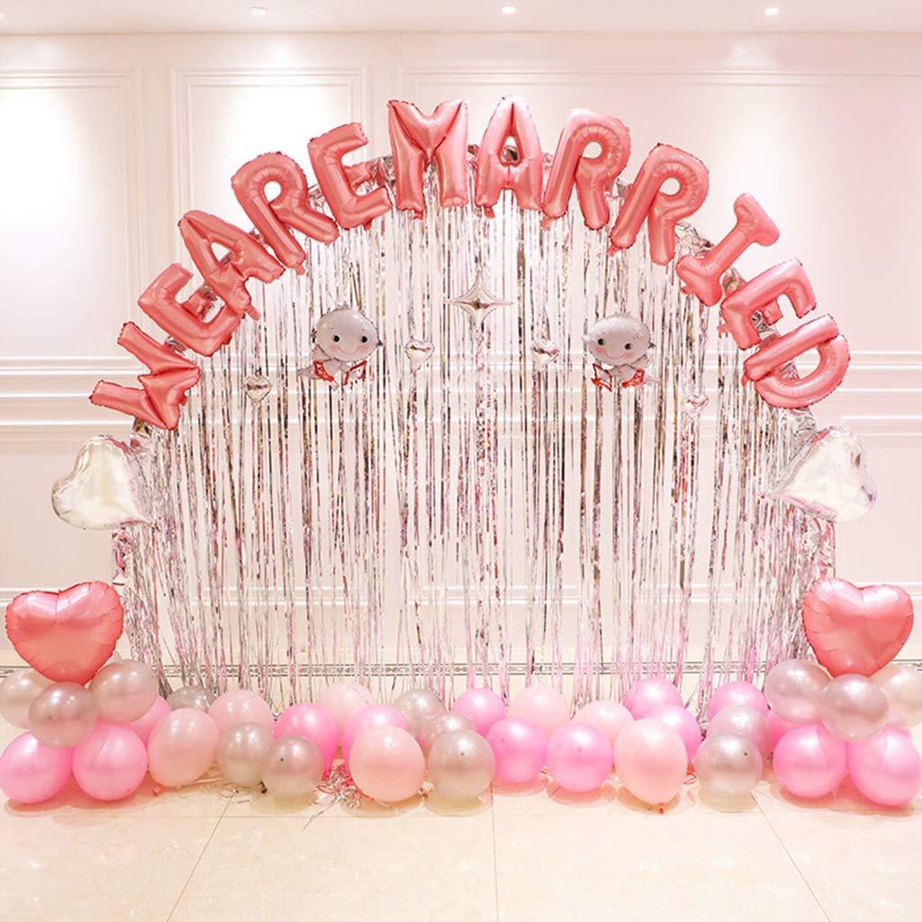 rose  Accessoires de Fête-LiuJF Décoration de voûte, Fournitures de mariage Nous sommes mariés Décoration de chambre de mariage Jour commémoratif Proposer un ballon décoratif Mise en Ambiance
