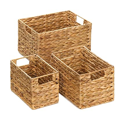 Genial Wicker Baskets For Storage, Stackable Organizer Bins, Made Of Straw (set Of  3