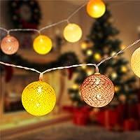 Aigostar Lichtsnoer, LED Lampjes Slinger, 10 LED Cotton-Thread Ball Lights, op batterijen, meerdere warm licht voor…