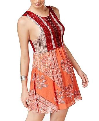 3f388d8d1a9b Free People Katies Crochet Top Fit Flare Mini Dress Red Combo at ...