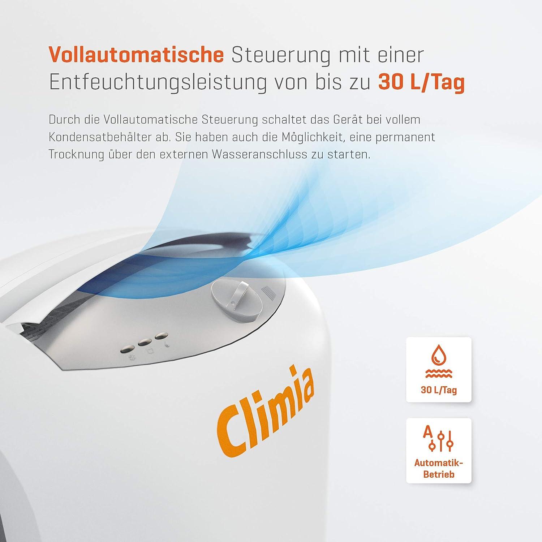 casa o garage Climia/® CTK 190,/deumidificatore elettrico fino a 30/l al giorno di deumidificazione in cantine
