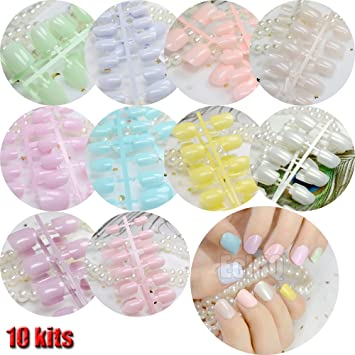 Amazon.com : 240Pcs Candy Color False Nails Tips Short Full Cover Fake Artificial Nails Manicure Nail Tips Pink Yellow Green Blue 10 sets same colors : ...
