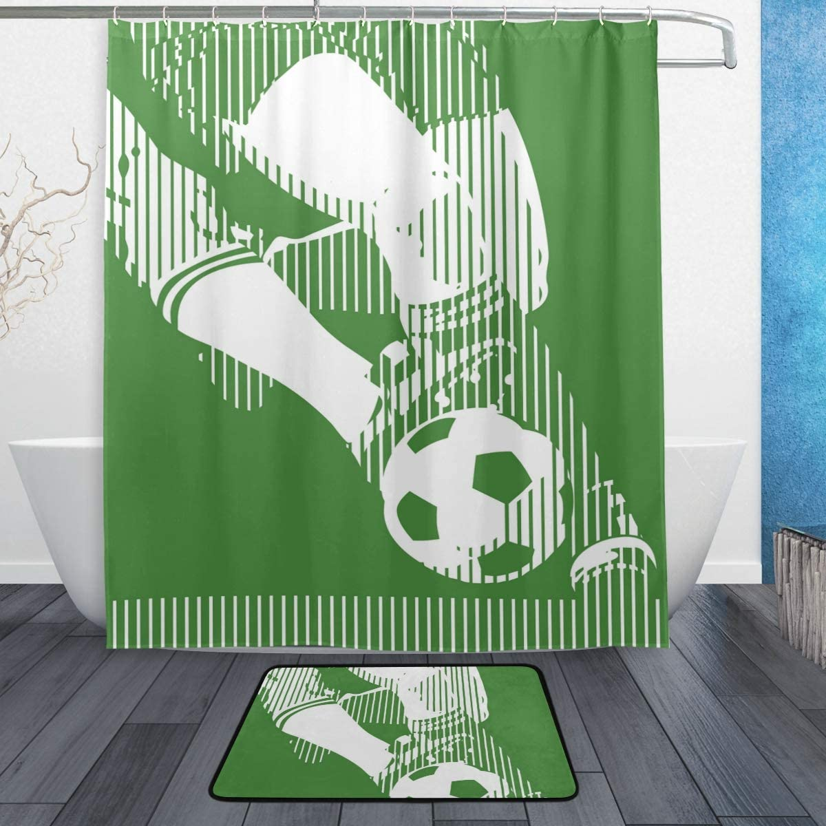 Soccer Cool Shower Curtain Set Polyester Fabric Curtains Bathroom Accessories