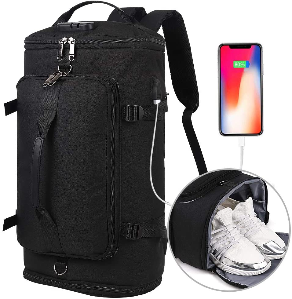Travel Backpack, Outdoor Duffle Bag with Shoe Compartment, Waterproof Hiking Camping Rucksack for Men and Women. Anti Theft College Backpack/Book-Bag with USB Charging