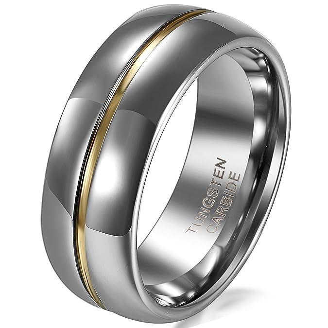 JewelryWe joyería 8 mm ancho carburo de tungsteno para hombre-anillo oro ranura centro pareja anillos boda banda compromiso talla 52 hasta 74: Amazon.es: ...