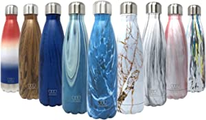 Gold Armour Stainless Steel Vacuum Insulated Water Bottle, Leak Proof Double Walled Cola Shape Bottle, Keeps Drinks Cold for 24 Hours and Hot for 10 Hours (Pattern: Dynamic Blue)